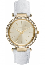 Đồng hồ Michael Kors Darci White, Gold Leather Band with Gold Dial Watch 39mm MK2391